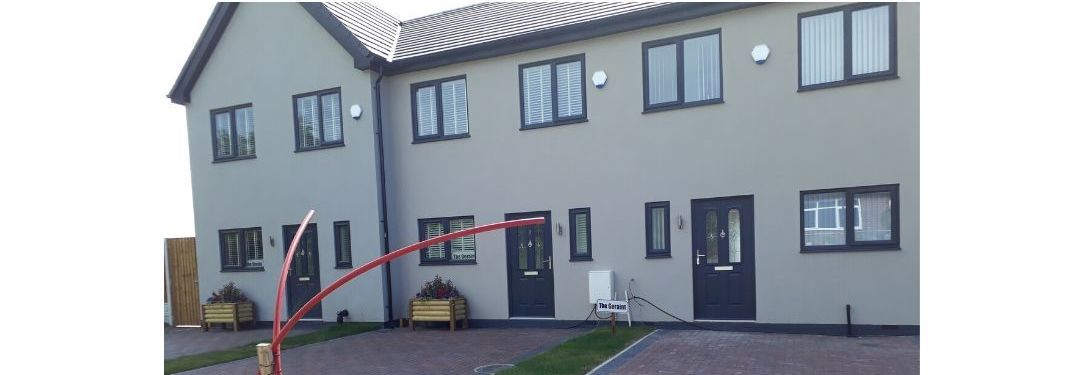 Modern end of terrace affordable homes being developed with monoblock drives