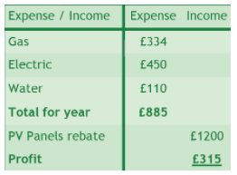 Wilcox heating/lighting income & expenses table showing a profit after PV rebate